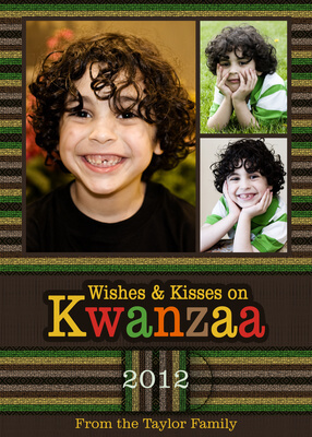 Personalized Holiday Cards, Kwanzaa Kisses Design