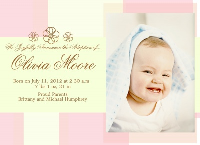 Birth Announcements, Special Flower Patch Design