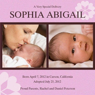 Birth Announcements, Special Bouquet Design