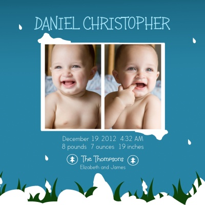 Birth Announcements, Sweetest Snowscape Design