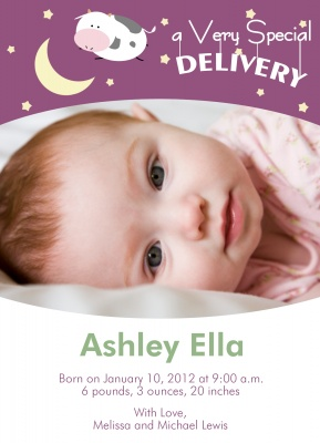 Birth Announcements, Special Crescent Moon Design