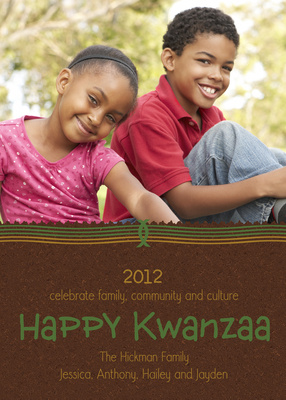 Personalized Holiday Cards, Kwanzaa Stripe Design