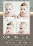 Twin Birth Announcements - Double Sussex Slate