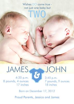 Twin Birth Announcements, Double Number Onesies Design