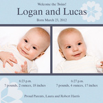 Twin Photo Birth Announcements - Double Duke Bouquet