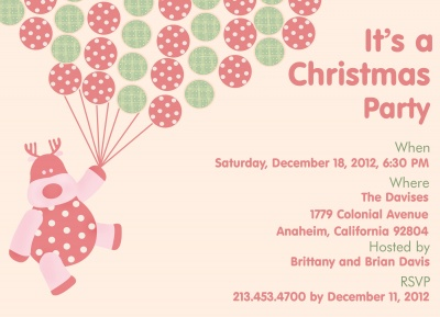 Holiday Party Invitations, Christmas Balloon Bouquet Design
