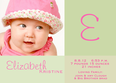 Birth Announcements, Signed with Love Design