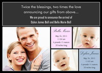 Twin Photo Birth Announcements - Darling Doubles