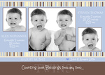 Infant Twin Birth Card  - Two by Two Blue