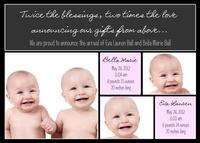 Twin Birth Card - Double Delight
