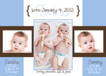 Twin Baby Announcements - Blue French Windows