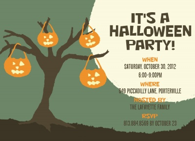 Halloween Party Invitations, Lantern Tree Design