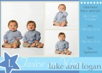 Infant Twin Birth Card  - Twin Stars
