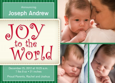 Birth Announcements, Holiday Baby Joy Design