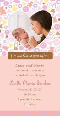 Birth Announcements, Love You Pink Design