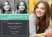 Teal Flower Announcement - Photo Graduation Announcements