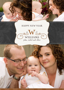 Damask Initial - new years photo cards