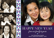 new years photo cards - Purple Pattern