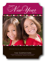 happy new years cards - Fuschia Ribbon