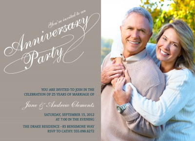 Wedding Anniversary Invitations, Party Script Design