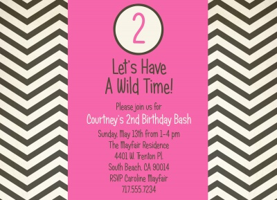 Kids Birthday Invitations, Pink Time Design