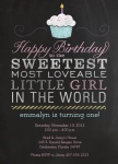 Girl Photo Birthday Party Invitations - Sweetie Cake