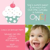 Photo Birthday Party Invitations - Lil' Cherry Cake