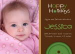 Cute As a Button - Holiday Birth Announcement Cards