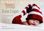 Season's Stars - Holiday Birth Announcement Cards