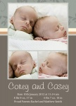 Double Sussex Slate - Twin Birth Announcement Cards