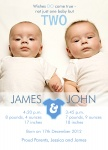 Double Number Onesies -  Twin Birth Announcements