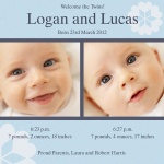 Double Duke Bouquet - Twin Birth Announcement Cards