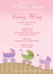 Pink Pram Parade - Baby Girl Shower Invitations