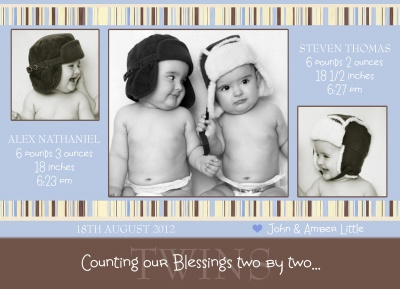 Twin Birth Announcement Cards, Two by Two Blue Design