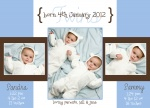 Blue French Windows - Twin Birth Announcement Cards