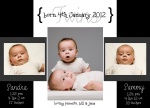 Just Perfection -  Twin Birth Announcements
