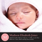 Rose Initial -  Baby Girl Birth Announcements