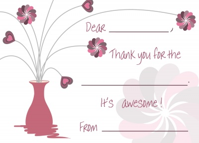Kids Thank You Cards, Pink Flowerpot Design