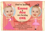 Sweet Birthday Stars - Twin Party Invitations