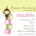 Pink Monkeyshines -  Baby Girl Shower Invites