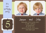 Two Blue Party Ribbons - Twin Party Invitations
