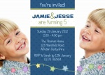 Peppy Party Boys -  Twin Birthday Invitations