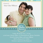 Baby's Aquitaine Stripe - Arrival Baby Shower Invitations