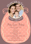 Coral Family Bib - Arrival Baby Shower Invitations