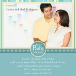 Family Aquitaine Stripe - Couples Baby Shower Invitations