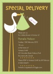 Singular Stork - Baby Girl Shower Invitations