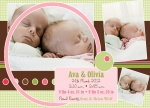 Double Pink Ring -  Twin Birth Announcements