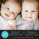 Double Blue Initials - Twin Birth Announcement Cards