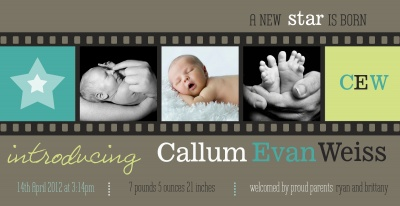 Birth Announcement Cards, Fancy Film Design
