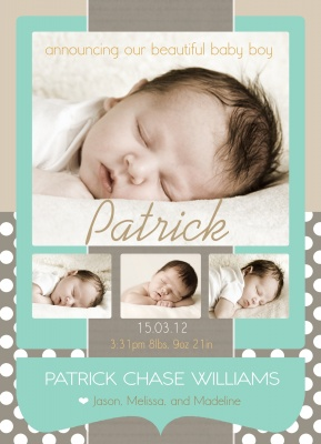 Birth Announcement Cards, Sweet Silver Dots Design